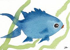 ACEO 57 Small Blue Fish (Sonia Aguiar (Mallorca)) Tags: acuarela watercolor watercolour soniaaguiar fishpainting smallfish coastalart aquarell aquarelle aceo fishart