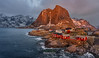 Kindled Trawl (http://www.richardfoxphotography.com) Tags: lofoten hamnøy fishingvillage fishing norway sunrise outdoors sea coastal hamnoy snow mountains grouptripod