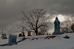 Late Winter Snow [Explore Feb 11, 2018] (Bud in Wells, Maine) Tags: cemetery laurelhillcemetery spring winter reading massachusetts snow tree newengland historic silhouette
