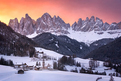 Ablaze (inkasinclair) Tags: alps italian santa maddalena dolomites odle geisler mountains mountain snow winter sunrise sky colour peaks val di funes valley landscape nikon d810 church st magdalena ablaze