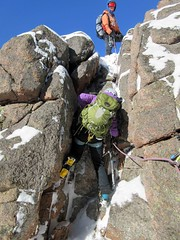 Winter climbing at Cranberry Rocks (Mrs Butterbur) Tags: winter snow scotland gb uk cairngorms nationalpark belay rope climb crampons granite