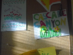 DSC03909 (classroomcamera) Tags: sign school signs message messages signage classroom inside light sun sunlight sunshine window windows shadow shadows paper art artwork papers cascade canyon grass flower flowers colors letter letters hang pushpin bulletin board