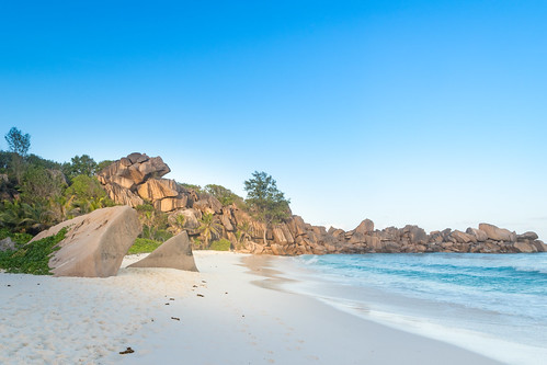 Beautiful beach Grande Anse on the island la digue, Seychelles