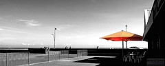 Sunshine (innpictime ζ♠♠ρﭐḉ†ﭐᶬ₹ Ȝ͏۞°ʖ) Tags: lampstandard beach greatyarmouth norfolk promenade seaside umbrella sea parade railings patio gardenfurniture parasol orange cafe southbeachparade seafront paved refreshments 526007021736368