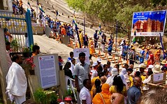 India (Bangalore) Millions of people are climbing about 800 steps to reach the colossal statue, 58 feet tall (ustung) Tags: climbing people steps jain festival karnataka bangalore india bahubali