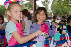 Painting Birdhouses (Kevin MG) Tags: kids child girls young youth cute pretty little schoolgirls smiles happy school birdhouses paint ca hp
