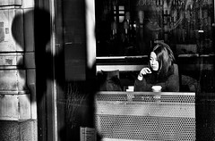 Shadows on State (draketoulouse) Tags: chicago loop blackandwhite monochrome people street streetphotography shadow sun woman books reflection city urban