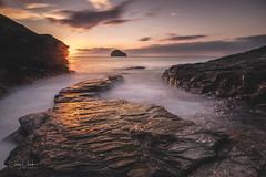 Cornwall Sunset on the rocks (~g@ry~ (clevedon-clarks)) Tags: channel cornwall dreamy gullrock landscape longexposure outdoor rugged scenic seascape south west england sunset trebarwith strand uk shore seaside ocean water coast sea dusk serene beach rocks sky rock bay