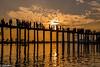 U Bein Bridge during the sunset (Myanmar) (patuffel) Tags: u bein bridge sunset yellow orange wood teak amarapura taungthaman lake