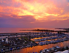A fiery departure (+2) (peggyhr) Tags: peggyhr sunset marina clouds mauve orange yellow cream blue white boats reflections dsc06415ab hawaii thegalaxy 50faves thegalaxylevel2 thegalaxystars thegalaxyhalloffame thelooklevel1red