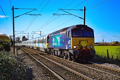 57301 + 365501 + 365505 - Shepreth - 15/02/18. (TRphotography04) Tags: direct rail services drs goliath drags great northern 365501 365505 past shepreth angel road working 5q65 1106 hornsey emud ely mlf papworth sidings the two brel 365s were going for storage cambridgeshire east crossing foot 57301