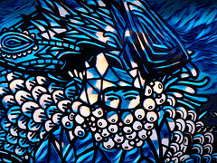 The Eyes Have It (Steve Taylor (Photography)) Tags: eyes face art digital mural blue black lines scales