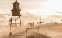 Not sepia! (MiguelHax) Tags: sea beach harwich dovercourt gull lighthouse promenade people mist