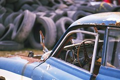 Tires everywhere (Analog World Thru My Lenses) Tags: nikonfa nikkor100mmf28seriese kodacolorvr200plus expired2006 march 2017 rust rusty vintage oldtimer wartburg tires classic cars