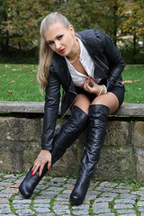 Anna 95 (The Booted Cat) Tags: sexy long blonde hair model girl woman leather jacket miniskirt heels highheels overkneeboots overknee boots nylon pantyhose