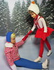 5. Ups and downs (Foxy Belle) Tags: doll skipper vintage barbie skating skate ice winter scene pond outside snow trees printed diorama 16 scale matter straight leg brunette eye lashes sledding fun blue pants red white zipper coat hat 1964 1966