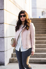 Pink leather jacket, white silk blouse, grey denim, silver mules-16.jpg (LyddieGal) Tags: athleta grayson lineapelle blush coloreddenim denim fashion gap grey jcrew leatherjacket loafers mules officestyle outfit rayban silkblouse silver spring style sunglasses tjmaxx vionic wardrobe weekendstyle white