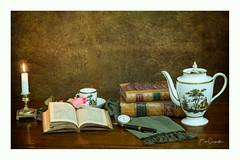 Food for your Soul (Bob C Images) Tags: still life books candle watch pitcher cup tea background textures