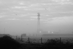 Faint Transmission (JamieHaugh) Tags: clevedon northsomerset england uk greatbritain outdoors sony a6000 fog mist morning faint transmission blackandwhite blackwhite bw monochrome grass field radio mast light tower building trees fence gb frost