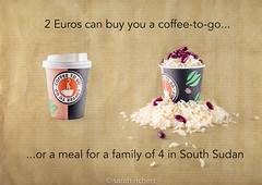 2 Euros buy a coffee or a meal for 4 in South Sudan (sarah richert) Tags: fundraising famine hunger poverty poor coffee help life social food hungry charity volunteer deprived desperate donate meal share plates misery suffering mission care hardship hope humanity human global despair third world starve people neglected problem starvation responsibility globalsouth developingcountry war yemen southsudan africa rice beans giving donation relief service welfare assistance community supply foodstuff staple