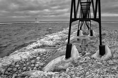 Arrangement of Ice (mswan777) Tags: 1855mm nikkor d5100 nikon sky cloud white black monochrome ansel scenic nature outdoor steel lighthouse seascape frozen michigan winter cold cover shape wave water ice pier