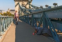 Praying for Bread (fotofrysk) Tags: beggar pedestrian szechenyichainbridge bridge architecture duna danube river water easterneuropetrip hungary budapest sigmaex1020mmf456dchsm nikond7100 201709308545