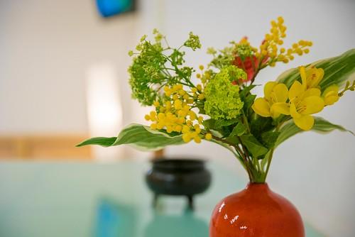 flower vase on alter
