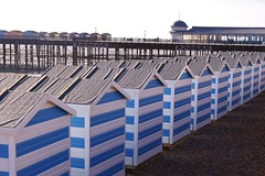 Hastings: Huts on the beach and the pier.... (markwilkins64) Tags: stripes white blue colours lines perspective seasidetown seaside leadinglines canon colourful beachhuts pier hastingspier hastings eastsussex uk texture