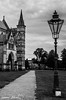Cathedral And Light (meepeachii) Tags: cathedral salisbury england uk greatbritain unitedkingdom southengland light lamp blackandwhite bw monochrome path touristattraction church religion vacation holiday holidays photography nikon