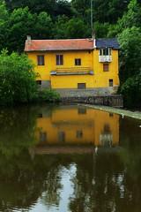 Dam [1] (colourvein) Tags: dam water building yellow green trees czechrepublic cz cheb leica