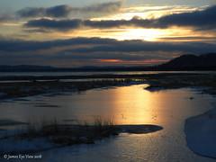 Great Lakes Ice (JamesEyeViewPhotography) Tags: lakemichigan lake michigan snow sky clouds sunrise trees water reflections nature landscape greatlakes sleepingbeardunesnationallakeshore jameseyeviewphotography