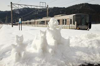 Platform at snowy day