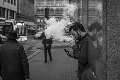 Formation of Clouds (Leanne Boulton) Tags: people urban street candid portrait profile portraiture streetphotography candidstreetphotography candidportrait streetportrait streetlife beard man male face smoke smoker smoking electronic cigarette vape vaper vapour vaping tone texture detail depthoffield bokeh reflection naturallight outdoor light shade city scene human life living humanity society culture lifestyle canon canon5d 5dmkiii black white blackwhite bw mono blackandwhite monochrome glasgow scotland uk