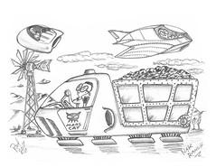 Nak Ranch (rod1691) Tags: art drawing scifi nak ufo sketch marscat windmill myart original wonderworld