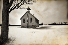 By Gone Days (Poocher7) Tags: blackandwhite monochrome sepia retrolook cornfield baretree winter snow cloudy oldabandonedchurch notrespassing boardedup stonechurch brickchurch circa1800 weathervane belltower grass hensal ontario canada building decay old abandoned sundaylights stark