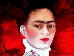 FRIDA IN RED. (Viktor Manuel 990.) Tags: frida red rojo painting pintura digitalart artedigital querétaro méxico victormanuelgómezg