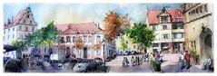 Colmar - Alsace - France - pl. du marché aux fruits (guymoll) Tags: colmar alsace france croquis sketch aquarelle watercolour watercolor koifhuu anciennedouane conseilsouveraindalsace colombages