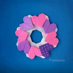 heart wreath by Francis Ow (polelena24) Tags: origami heart valentine wreaf modular francisow square