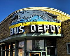 Dog Days (Grumpy D. Wharf) Tags: purple idaho neon sign dog greyhound old americana bus ride travel
