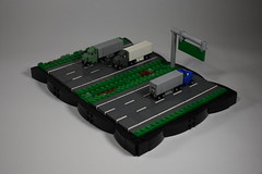 Trucking (dzambito42) Tags: lego micro truck 18wheeler semi trailer expressway freeway road