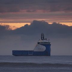 M2041550 E-M1ii 300mm iso200 f4 1_40s MF (Mel Stephens) Tags: 20180204 201802 2018 q1 1x1 square uk scotland aberdeen olympus mzuiko mft microfourthirds m43 300mm pro omd em1ii ii mirrorless donmouth coast coastal transport ship boat sea ocean explore explored