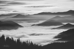 Morning ceremony (RuiFAFerreira) Tags: beauty bw black wide white blackwhite shadow light sunrise fog mood mountains canon portugal panorama ef75300mmf456 landscape layers nature