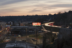 Powerball (Curtis Gregory Perry) Tags: portland oregon night south waterfront interstate 5 five freeway light trail powerball lottery sign billboard long exposure nikon d810 sky sunset clouds
