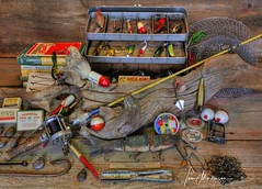Vintage Fishing Gear (Tom Mortenson) Tags: fishinggear fishingtackle wisconsin fonddulac usa midwest fishing lures vintagefishingtackle memorabilia northamerica canon canon6d canoneos 24105l indoors collectibles stilllifeimage stilllife collage collection tacklebox oldfishinggear bobbers hooks artificialbait sportfishing fonddulaccounty