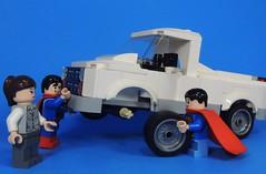 Changing a Tire (-Metarix-) Tags: lego super hero minifig custom superman dc comics comic john lois lane clark kent action truck farm life