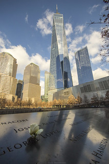 9/11 memorial south pool and One World Trade Center