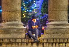 city of light (albyn.davis) Tags: people portrait night architecture building color colors blue steps vivid bright columns paris france europe