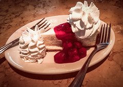 Cheesecake (lclower19) Tags: iphone cake cheesecake odc perhapsishouldhave cherry whippedcream forks sharing plate cheesecakefactory