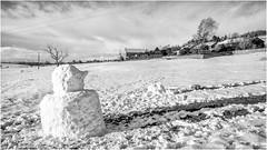 Stainton . (wayman2011) Tags: f2 fujifilmxf18mm lightroomfujifilmxt10 wayman2011 bwlandscapes mono rural villages winter snow snowman pennines dales teesdale stainton countydurham uk