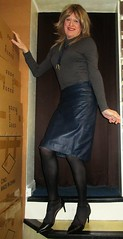 Pencil with Heels (Amber :-)) Tags: navy leather pencil skirt tgirl transvestite crossdressing
